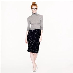 J.CREW COLLECTION Black Sequin Tweed Pencil Skirt
